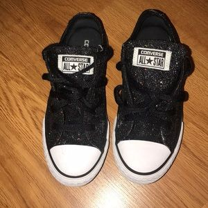 Black Sparkly Little Girl's All Star Converse